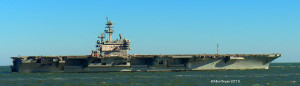 USS George H.W. Bush- aircraft carrier heading out to sea from Chesapeake Bay