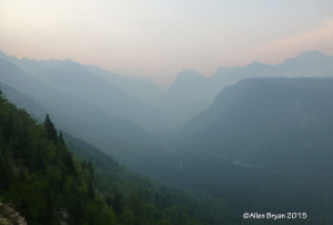 Smoke from west of Glacier National Park influencing visibility